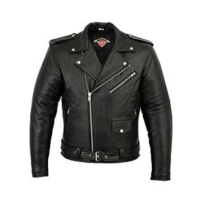 Veste pour homme - style Perfecto - cuir de vachette - noir - L - tour de poitrine 106,5cm