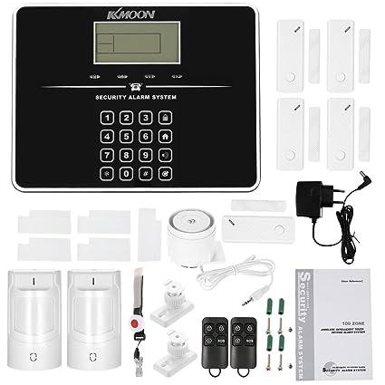 KKmoon Kit de alarma sistema de seguridad GSM SMS 433 mhz ...