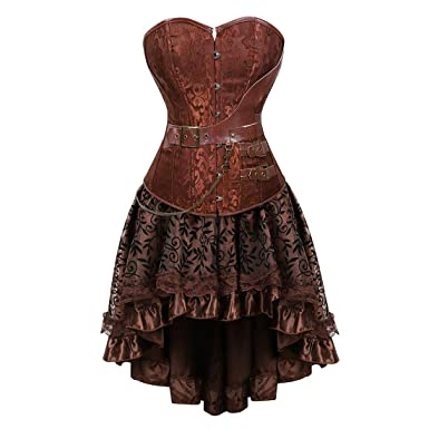 6fc1f117b9f79 Zhitunemi Women Halloween Costume Gothic Victorian Corsets Burlesque  Dresses Moulin Rouge Brown Small