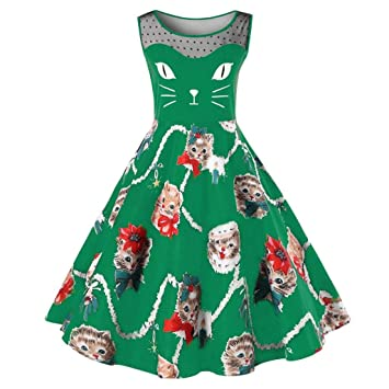 f9cb92abe409e Amazon.com : Dressin Women's Sexy Prom Dress Ladies Cat Print ...