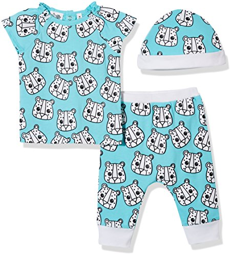 Silly Apples Unisex Baby Cotton Blend 3-Piece Short-Sleeve T-Shirt and Pant with Cap Outfit Set ()