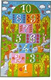 Kev & Cooper Playtime Collection Childrens Hopscotch Educational Area Rug - 5'0'' x 6'6''