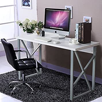 Bon Modern Luxe Home Office Computer Desk Table With Metal Frame/MDF Board White
