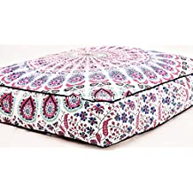 Large Peacock Mandala Floor Pillows Square Bohemian Meditation Cushion Cover Indian Throw Oversized Outdoor Bed By Handicraftspalace