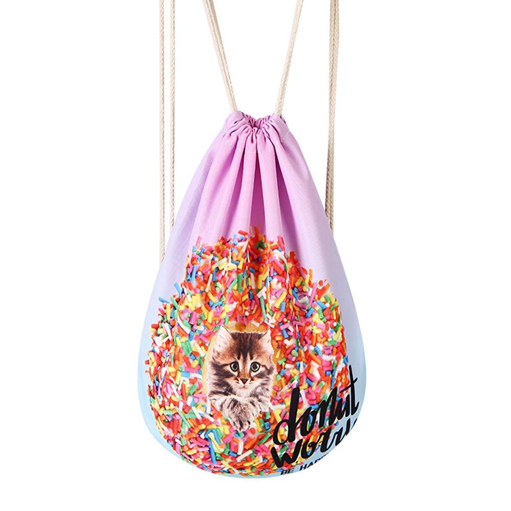 Gracelife Cute Animal Design Drawstring Bag Dog Cat Shoulder String Bag 3D Skull Print Drawstring Backpack Thin Daily Gym Bag (Pink-Cat)