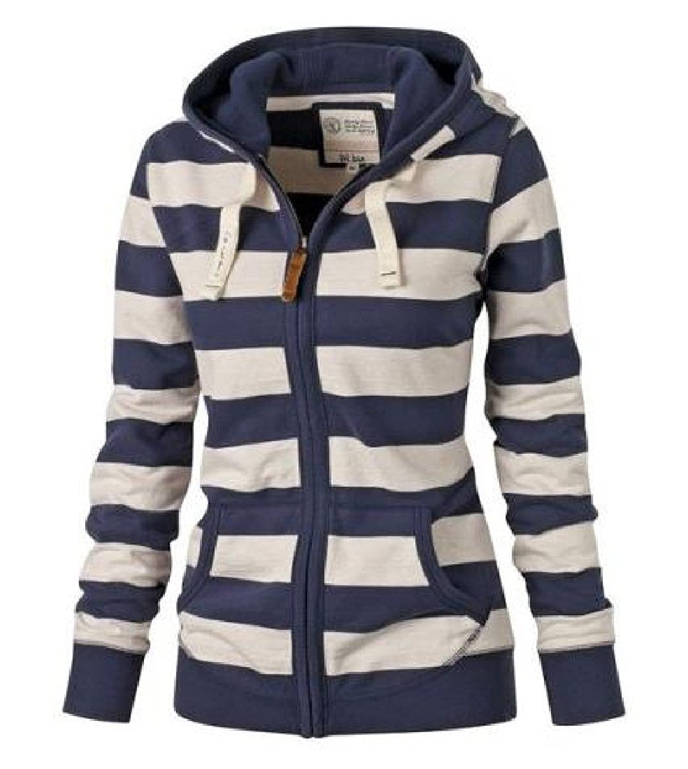 Abetteric Women Hooded Stripe Full-Zip Cargo Pocket Long Sleeve Outwear