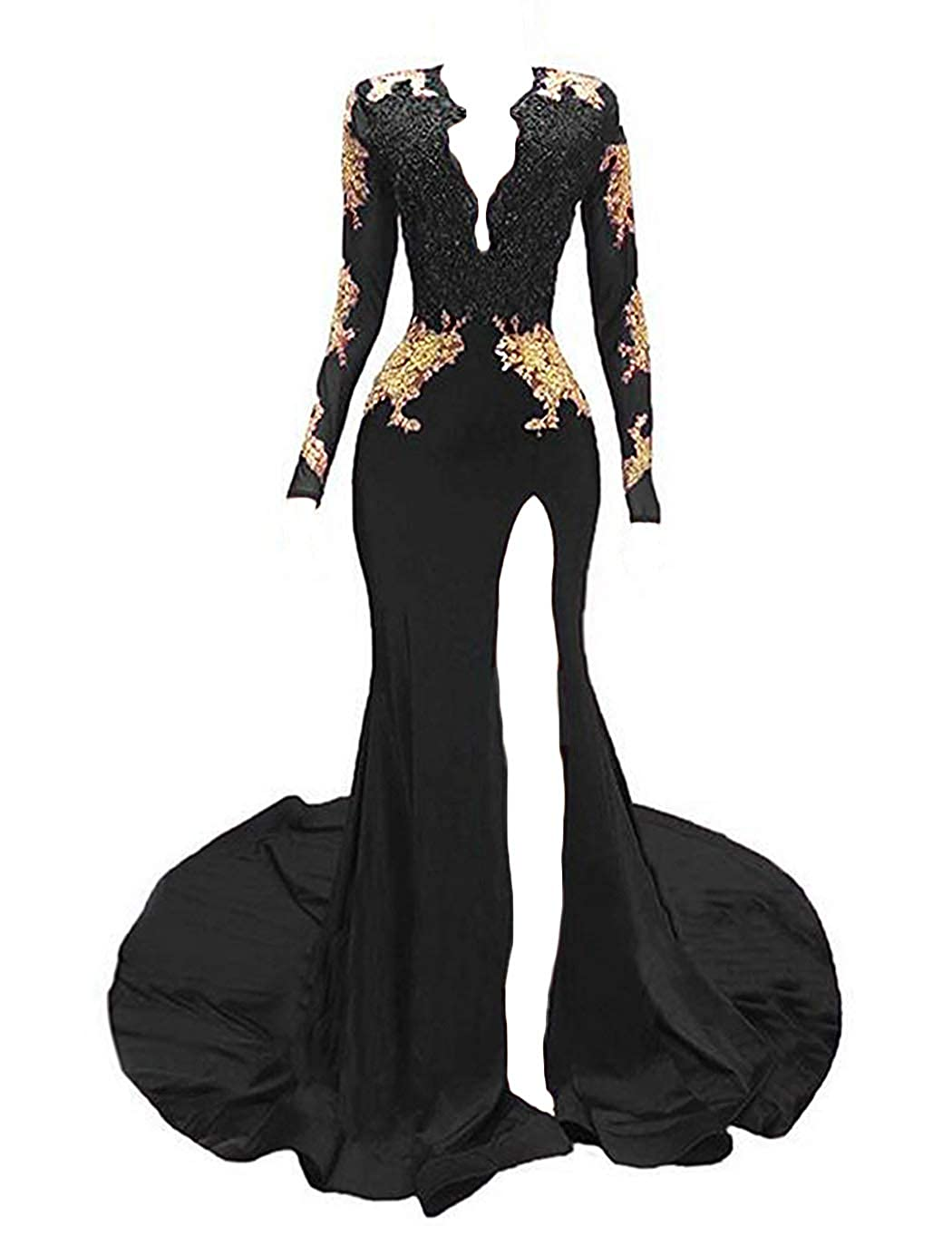 84def2846681 Dymaisei Women's Long Sleeves Prom Dresses 2019 Gold Appliques Mermaid Evening  Formal Dress at Amazon Women's Clothing store:
