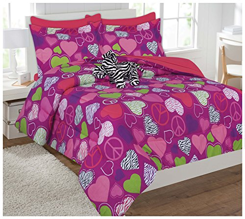 Fancy Collection 7pc Kids/teens Zebra Pink Peace Sign Bed-in-a-bag Comforter Set- Furry Buddy Included - Twin Size