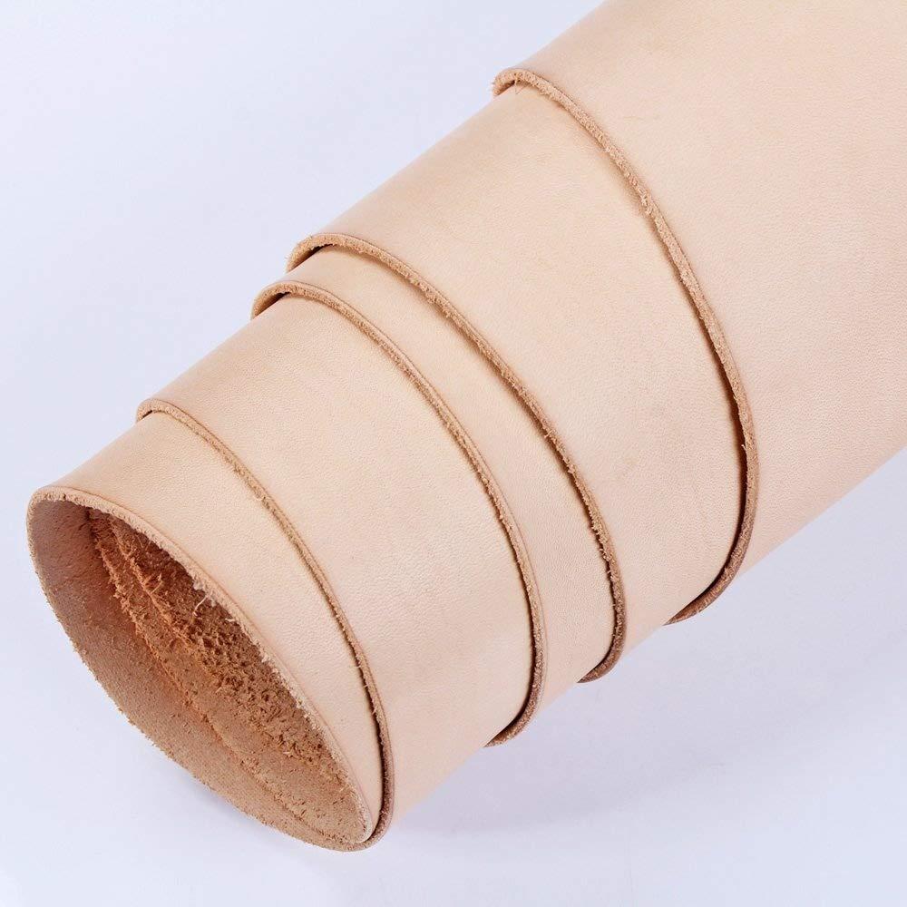 WUTA Leather Pre-cut 100% Veg Tan Cowhide Full Grain Tooling Leather Piece 5-5.5 oz