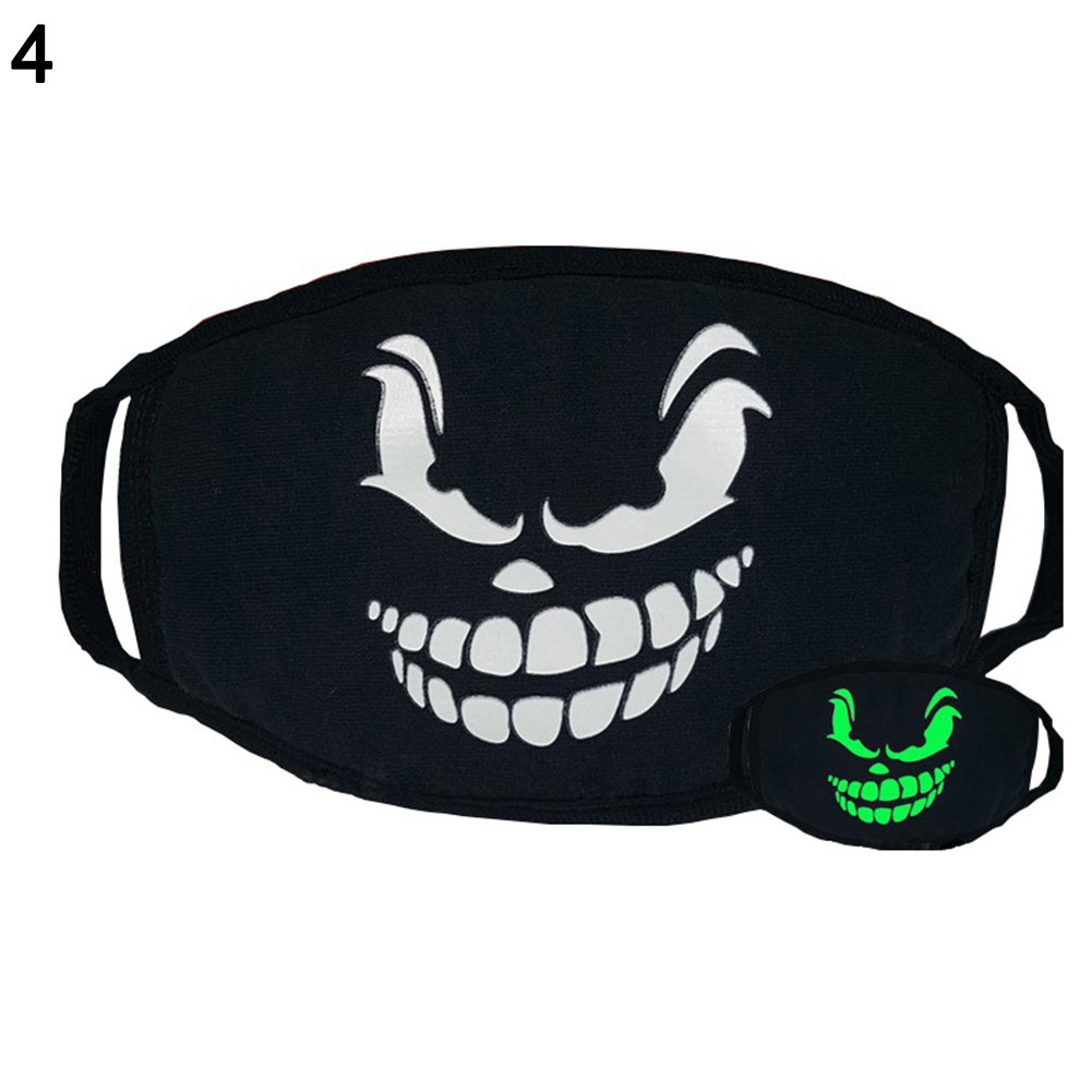 good01 Green Night Mask Personality, Fashion Unisex Cosplay Party Outdoor Cool Luminous Anti Dust Cotton Mouth Mask #Bear