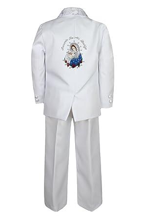 Amazon.com: Bebé Niños bautizo traje blanco color bordado de ...