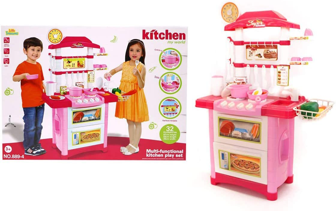 Amazon Com Mtt Kids Play Kitchen Chef Toy Cooking Counter Top Playset For Children Toddler Pretend Play Small Kitchen Includes Pots Pans Utensils And Play Food Battery Operated Toys Games