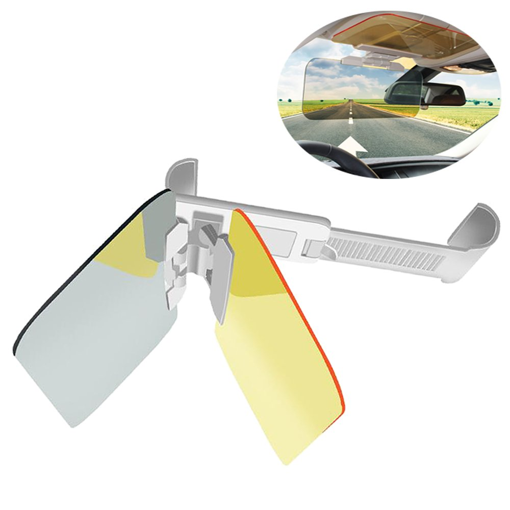 Lecone Car Sun Visor, Day and Night Anti-UV/Anti-Dazzle/Anti-Glare Windshield Visor Extender, UV Blocker and Eye Protector for Clear Visibility