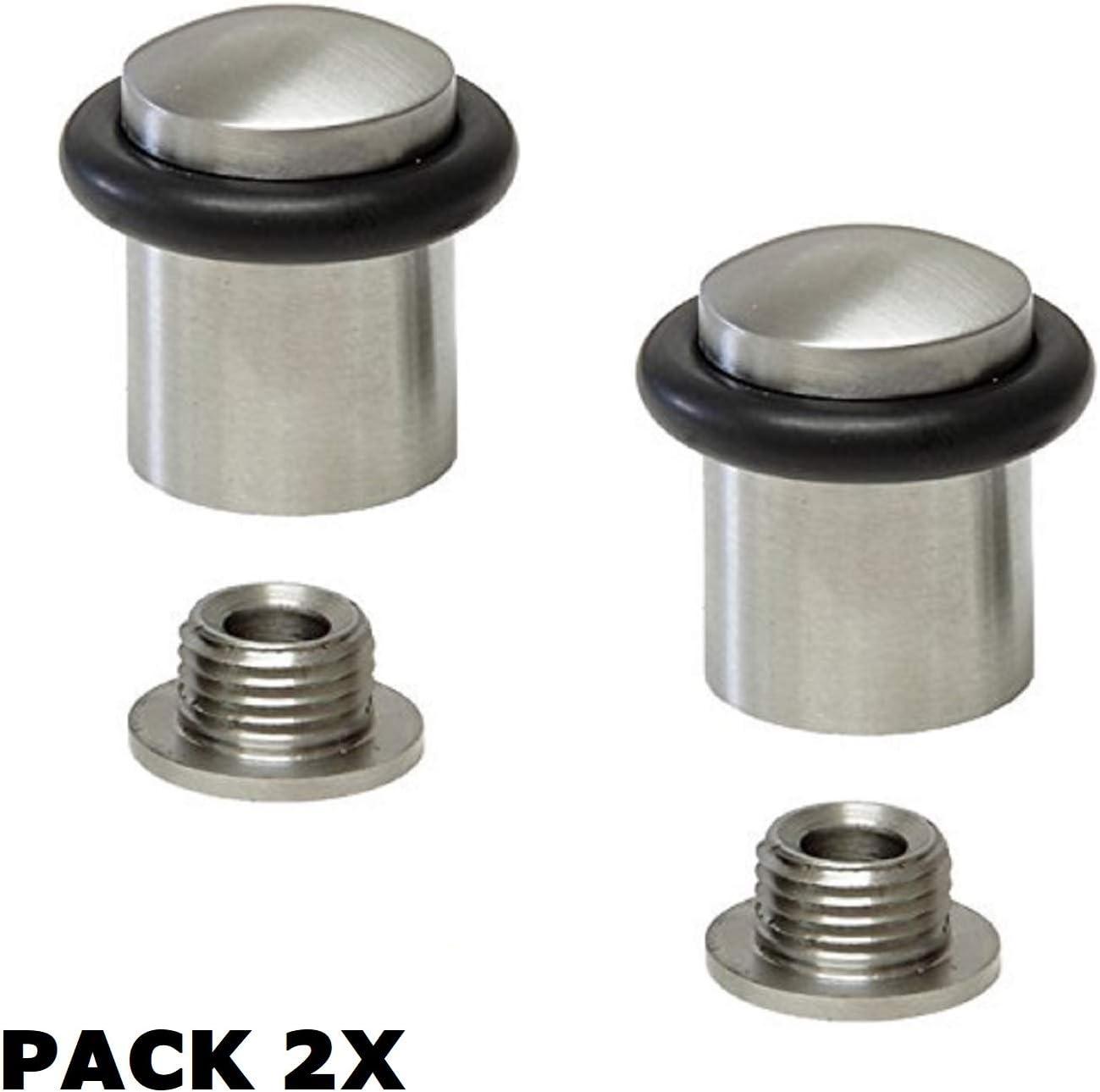 EVI Herrajes 040159CB2UAM Pack de 2 topes de puerta (acero inoxidable)