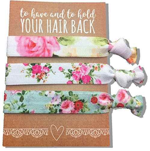 Jeune Marie 6 Pack Floral Ribbon Hair Ties KIT No Crease Elastics Handtied Ouchless Ponytail Holders Hair Band Bracelet Favors for Bachelorette Parties, Bridal Showers, and More! (6 Pack, Floral)