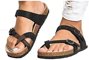 Happeks Women's Gladiator Sandals, Casual Ankle Buckle Strap Flat Slides, Summer Beach Shoes Flip-Flops