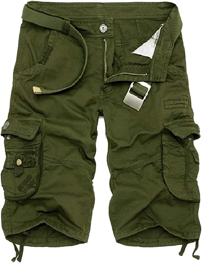 Nicellyer Men Cargo Twill Pant Pockets Camouflage Basic Cotton Boardshort