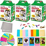 Fujifilm Instax Mini Instant Film (3 Twin Packs, 60 Total Pictures) + 60 Sticker Frames + 5 Plastic Desk Frames + 10 Paper Frames + Micro-Fiber Cleaning Cloth