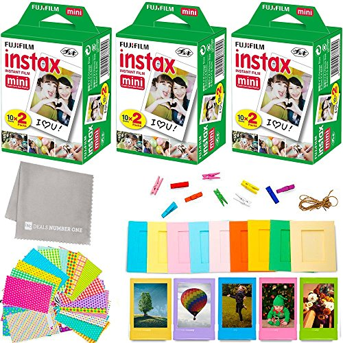Fujifilm Instax Mini Instant Film (3 Twin Packs, 60 Total Pictures) + 60 Sticker Frames + 5 Plastic Desk Frames + 10 paper frames + Micro-fiber Cleaning - Polaroids Order