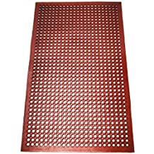 New Star 54521 Commercial Grade Grease Resistant Rubber Floor Mat, 3-Feet by 5-Feet, Red