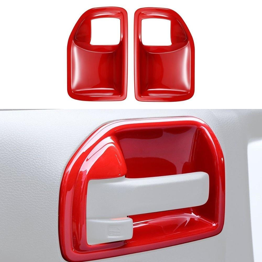 UltaPlay Car-styling Interior Door Handle Bowl Cover Trim Chrome ABS Sticker For Jeep Wrangler Rubicon JK 2011-16 2 Doors Car Accessories [Red]