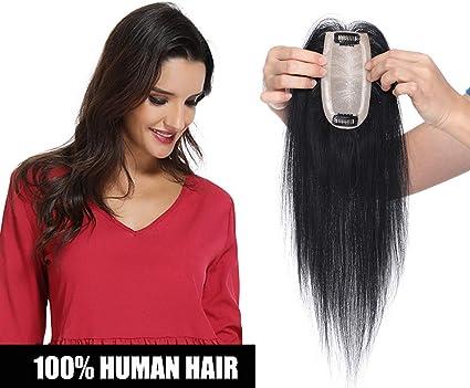 Elailite Prótesis Capilares Mujer Toupee Flequillo Postizo Pelo Humano Extensiones de Clip -[Base GRANDE]- 30 CM #01 Negro Oscuro (120% Densidad) Hairpiece Pelucas Cortas: Amazon.es: Belleza