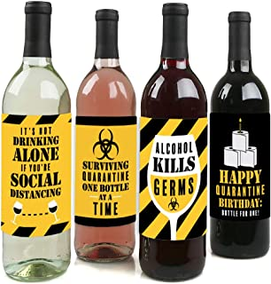 product image for Big Dot of Happiness Happy Quarantine Birthday - Social Distancing Party Decorations for Women and Men - Wine Bottle Label Stickers - Set of 4
