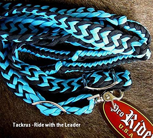 Tack Reins (ProRider Roping Knotted Horse Tack Western Barrel Reins Nylon Braided Turquoise BLK 60701)