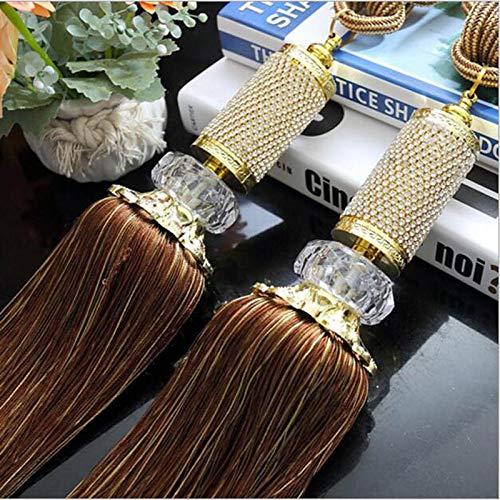 XDH-RTS 1 Pair Elegant Rhinestone Curtain Tieback Tassel Hanging Ball Belts Holdbacks Tie Rope Home Decor Long Fringe Pendants