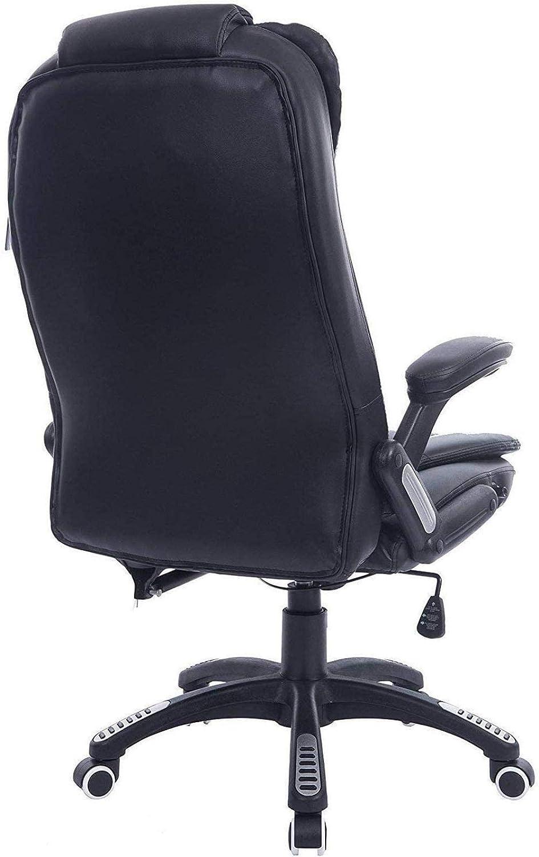 Datorstol hem mode svängbar stol lyft säte verkställande räffling extra vadderad kontorsstol fåtölj (färg: Röd) Svart