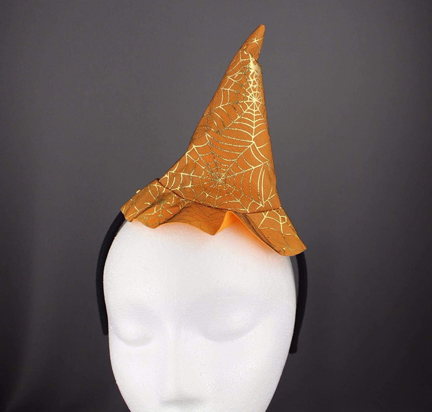 Amazon.com   Orange witch hat headband halloween thin skinny hair band  silver sparkle   Beauty a6a10f87092