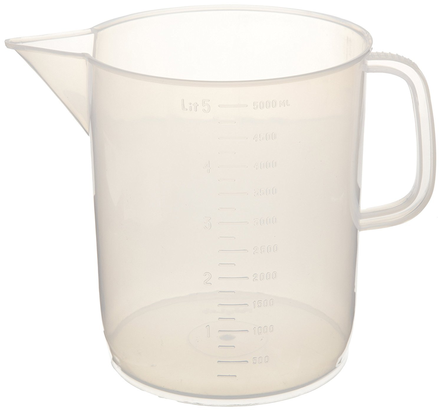 PSC 3798802 Polypropylene Graduated Pitcher, 5 L , 11'' Height, 9'' Wide, 7.5'' Length, 169.07 Fluid_Ounces , Polypropylene
