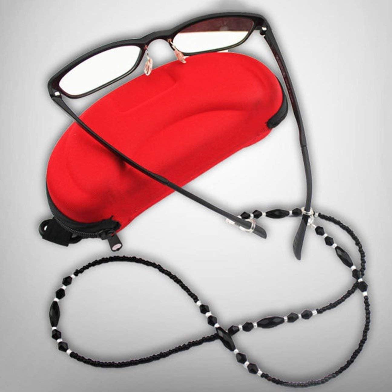 MachinYeseed Frauen Mode Brillenketten Schwarz Acryl Perlen Ketten Anti-Rutsch-Brillen Kabelhalter Umh/ängeband Lesebrille Seil Farbe: schwarz