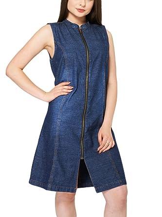 f6313b625e Women s Ladies Girls Blue Denim Sleeveless Zip-Front Midi Dress (UK ...