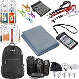 Raqpak Cruise Travel Bundle Set, Luggage Tags, Microfiber Towel, Foldable Backpack, Waterproof Neck Wallet, Lanyards (Cruise Set 3, Grey/Black Mixed)
