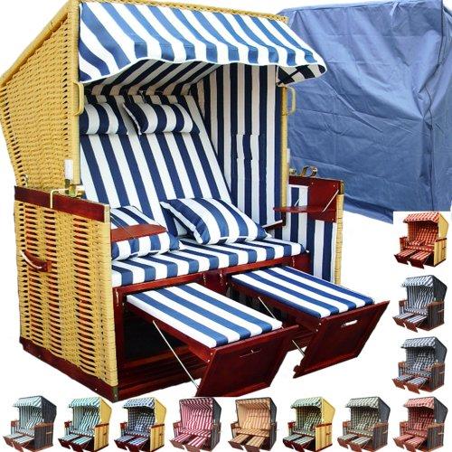 XINRO® - XY-12 - Garten Strandkorb inkl. Luxus Strankorb Schutzhülle & 4x Kissen, Blau-gestreift mit natur Rattan und braunem Holz, Form: Nordsee