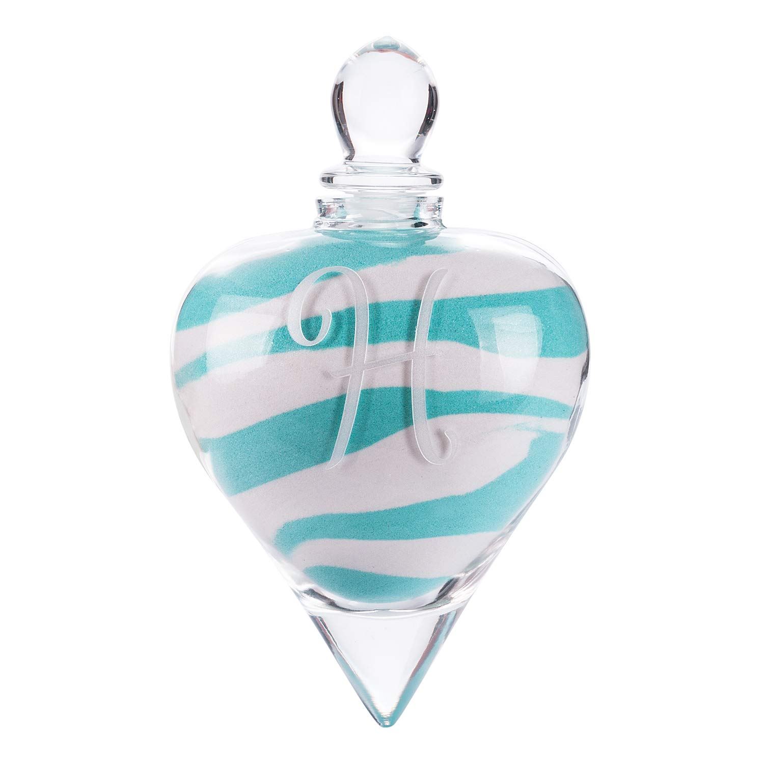 AF ANDREW FAMILY Monogrammed Etched Wedding Glass Heart Shaped Unity Set with Metal Stand Initial B White/& Blue Sand Included