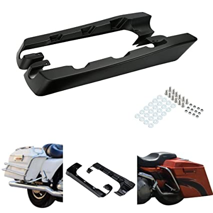 "Matte Black 4/"" Hard Stretched Saddle Bag Extensions For Harley Road Glide King"