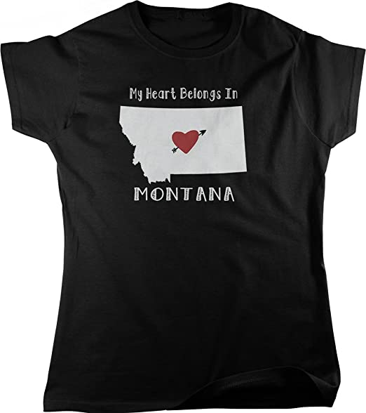 Amazon Com My Heart Belongs In Montana Women S T Shirt Nofo