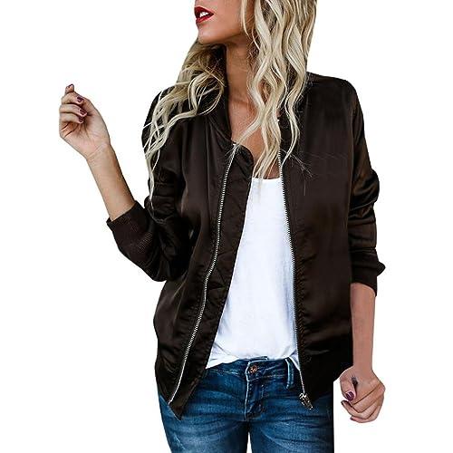 Escudo, abrigo,Internet Moda mujer otoño manga larga Chaqueta de patchwork sólido Abrigo con cremall...