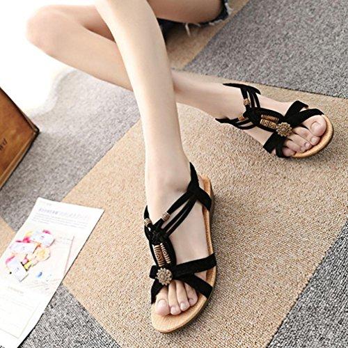 Chaussures Roman Sandales Vintage Sandales Boucle Plate Noir Bovake à d'été Casual Femme gvZ8qwgxFI