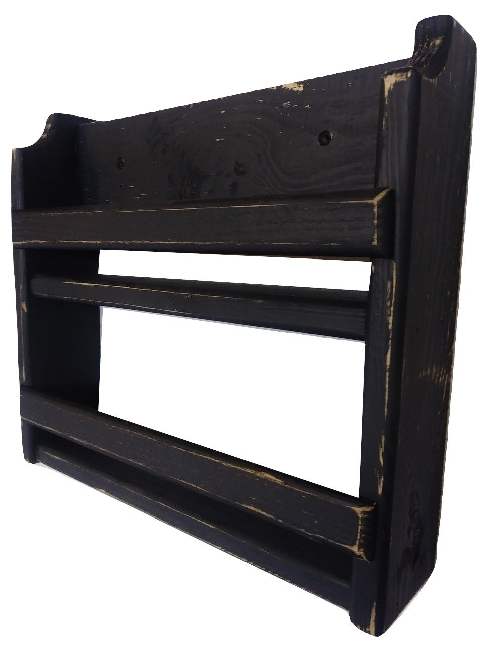 Country Rustic Wood Spice Rack Distressed Finish Wall Mount