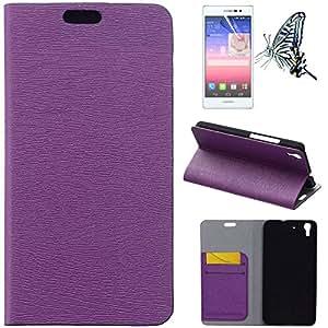 Para Huawei Honor 4A Funda, Mobilefashion Funda de PU Cuero Case para Huawei Honor 4A (Púrpura) Con Soporte Plegable y Ranura para tarjeta + 1x protector de pantalla gratis