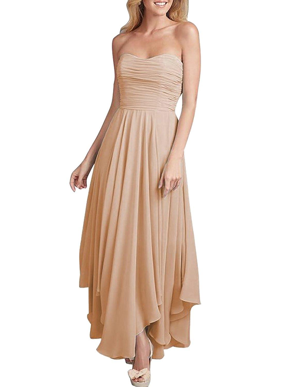 ASVOGUE Mujer Vestido Moda sin Tirantes Dobladillo Asimétrico, Rosa S: Amazon.es: Ropa y accesorios