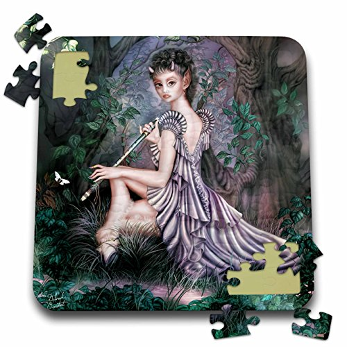 3dRose Dream Essence Designs Fantasy - an Mythical elf Creature of The Forest who Plays a Haunting Melody on an Enchanted Flute - 10x10 Inch Puzzle (pzl_11646_2) ()