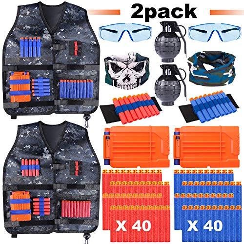 2 Pack Adjustable Kids Tactical Jacket Vest Kit for Nerf Guns N-Strike Elite Series with 80 Bullets Refill Darts 2 Toy Grenade, 2 Reload Clip, 2 Face Mask, 2 Protective Glasses, 2 Wrist Band for Boys
