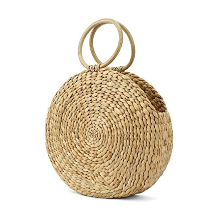 Yisaesa Beach Bag Round Rattan Bag Circle Straw Totes Bucket Bag Women  Summer Handmade Handbag Boho Wholesale (Color   Champagne 0e6cdc97d24f2