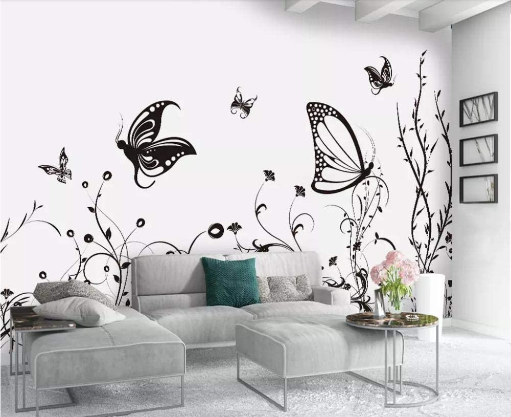 Wallpaper 3d Simple And Fresh Black Butterfly Modern Living Room Bedroom Large Mural Wall Decoration Amazon Com