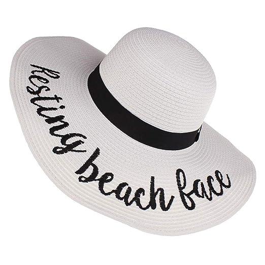 QYS Sombrero de Sol Blando Ajustable para Mujer,White ...