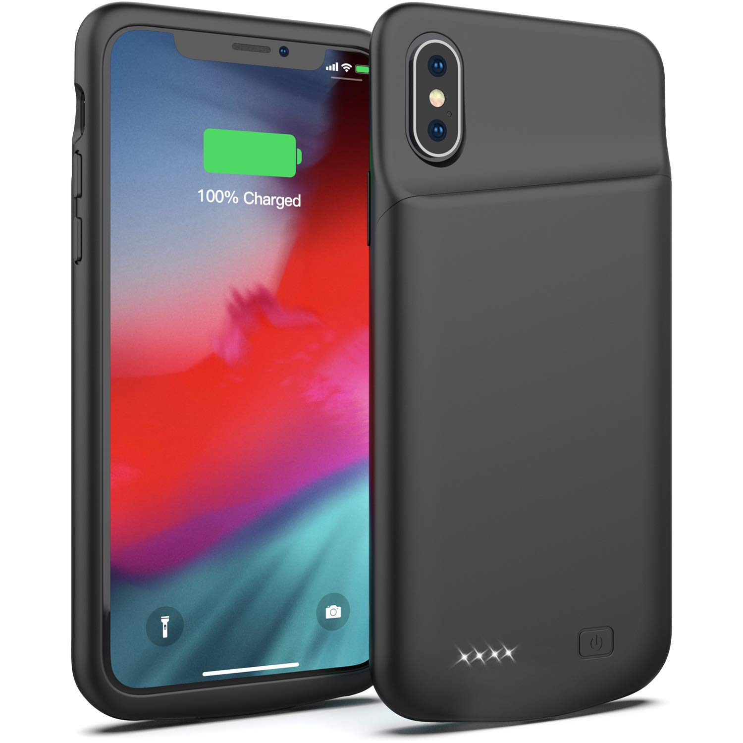 Battery Case for iPhone X/XS, 4000mAh Portable Protective Charging Case Extended Rechargeable Battery Pack Charger Case Compatible with iPhone X/XS / 10 (5.8 inch) (Black)